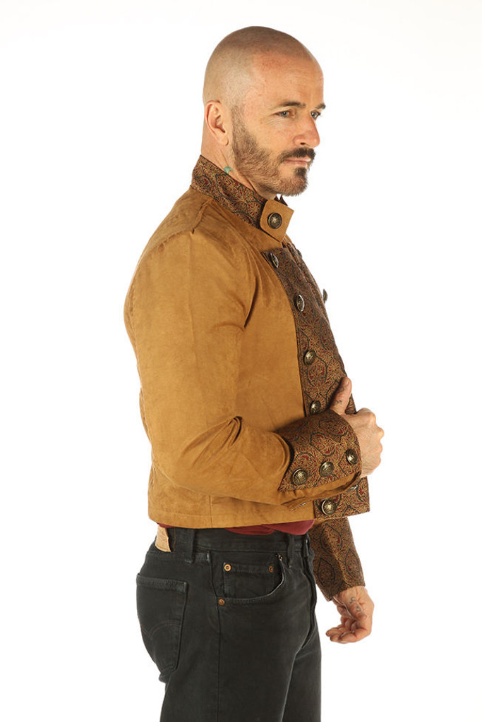 Brown gothic steampunk military jacket - side view