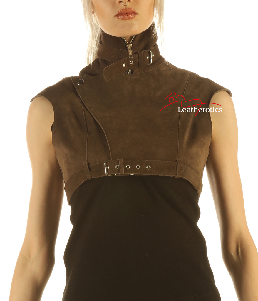 Suede Leather High Waisted Short Waist Coat image 2
