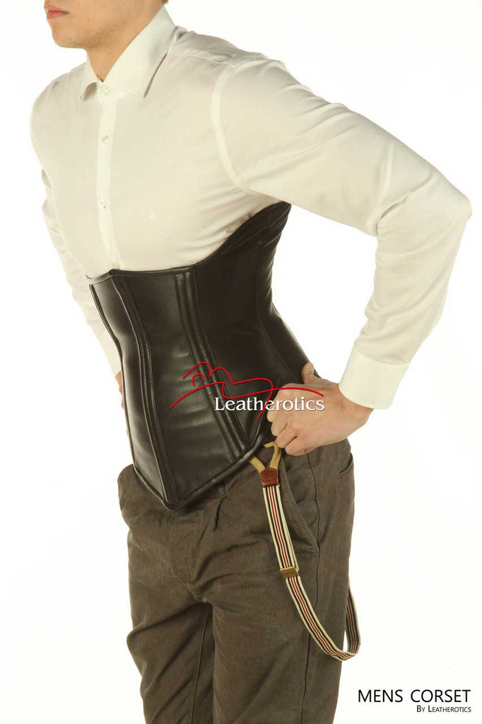 Underbust Mens Leather Corset Tight Lacing Steel Boned Posture support 1224