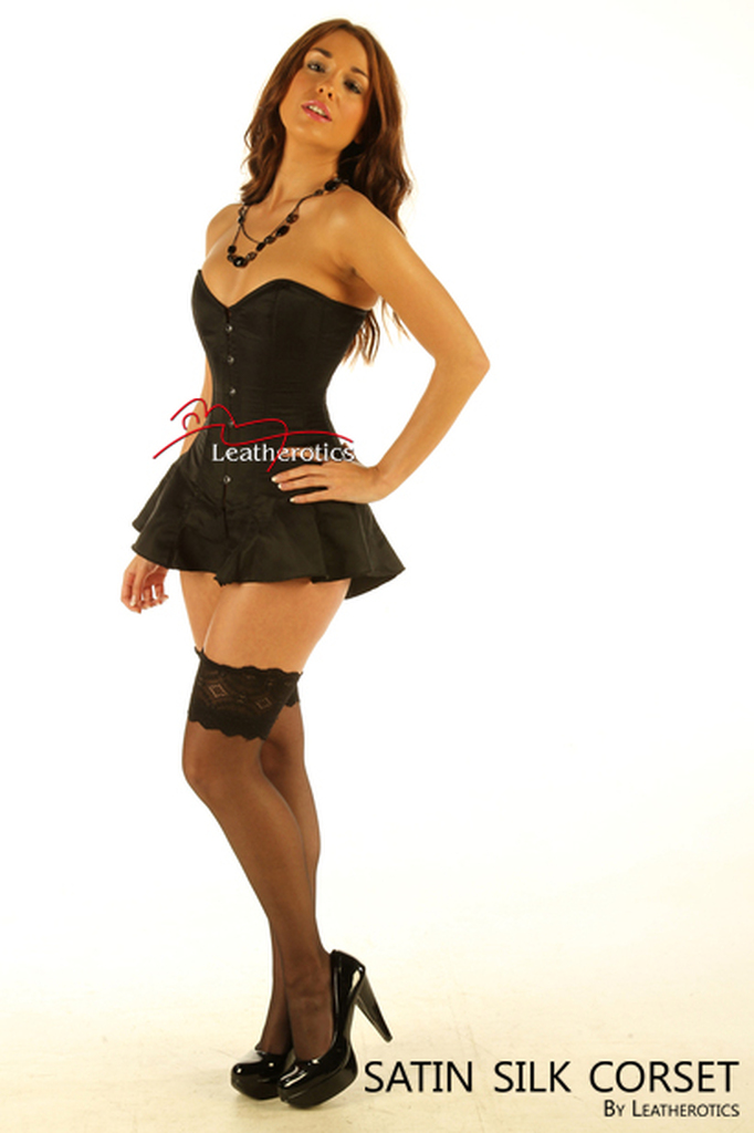Corseted Skirt Skirted Basque Steel Boned BLK 1810 Leatherotics UK CRSBLK  image 2