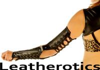 Black leather steampunk gloves