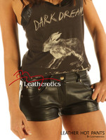 Real Leather Made Jeans Style Tight Shorts Hotpants Hipster Fit  image 2