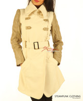Soft Wool Coat With Full Grain Leather Arm Sleeves Of White Tan
