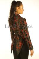 Ladies Tail Coat Victorian Flock Steampunk Jacket Red cherry