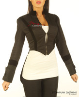 Ladies Tailcoat Gothic Vintage Costume Victorian Flock Jacket - front view