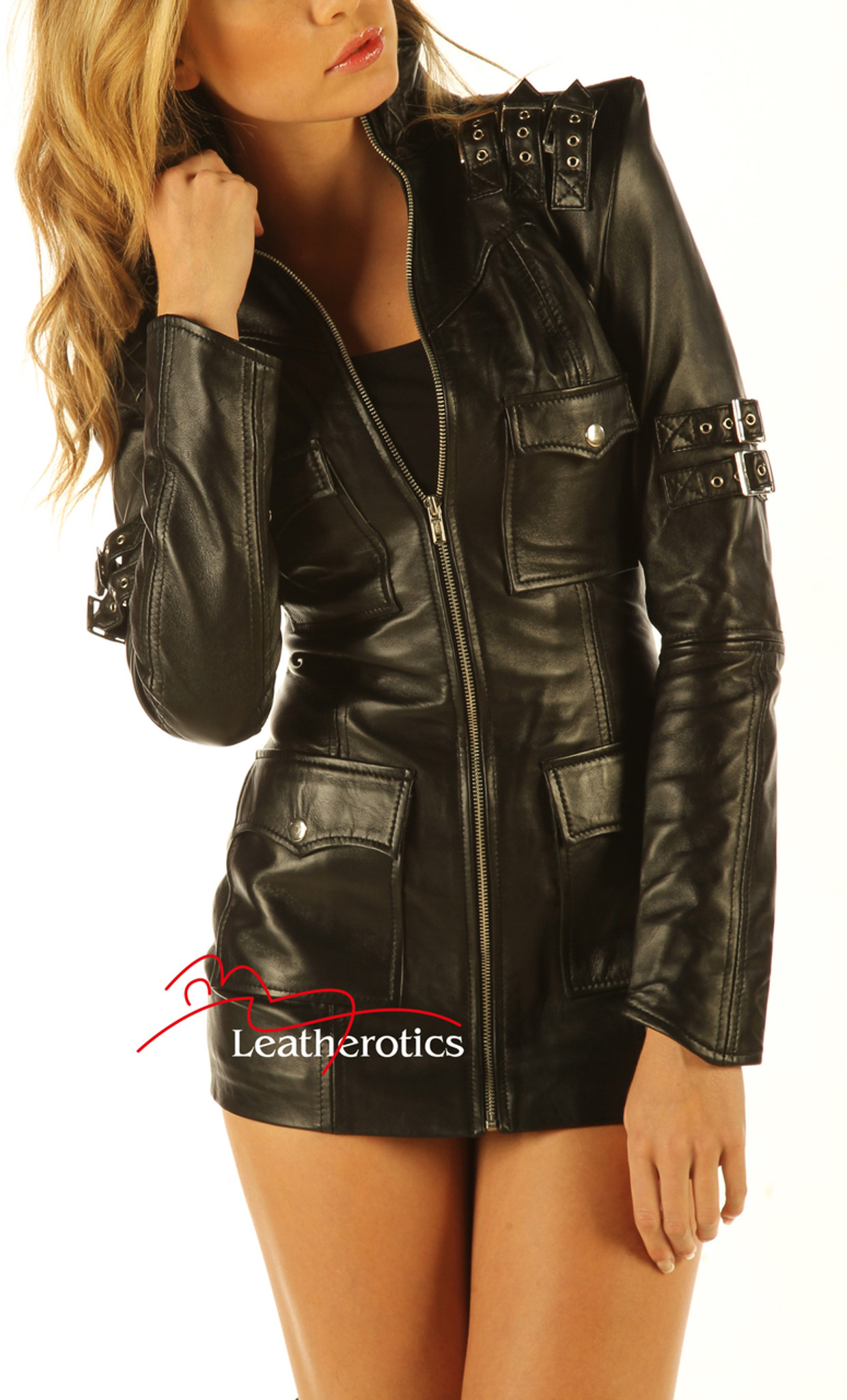 Sexy Leather Clothing  Black Leather Dress  Leather -5068
