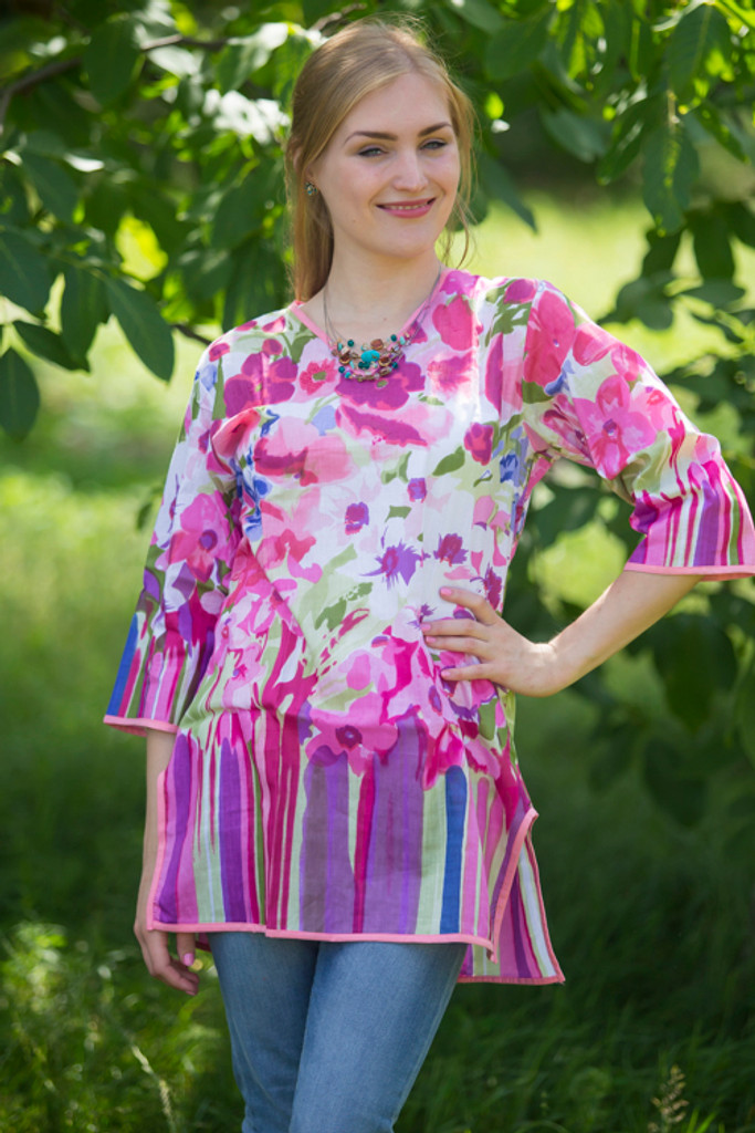 """""""Glam Tunics"""" kaftan Top in Floral Watercolor Painting pattern"""