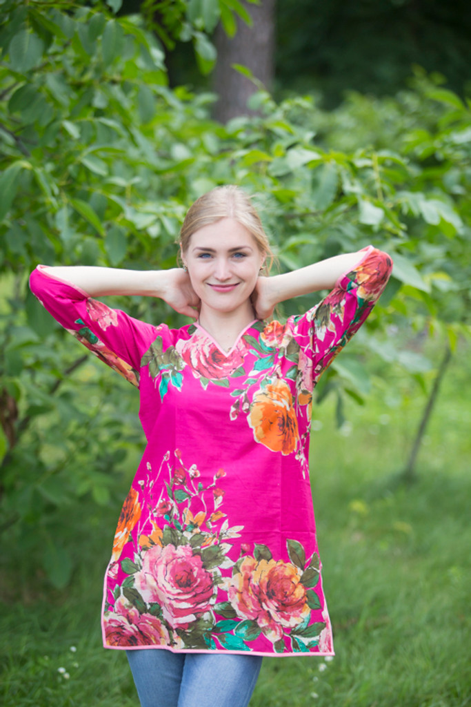 """""""Glam Tunics"""" kaftan Top in Large Floral Blossom pattern"""