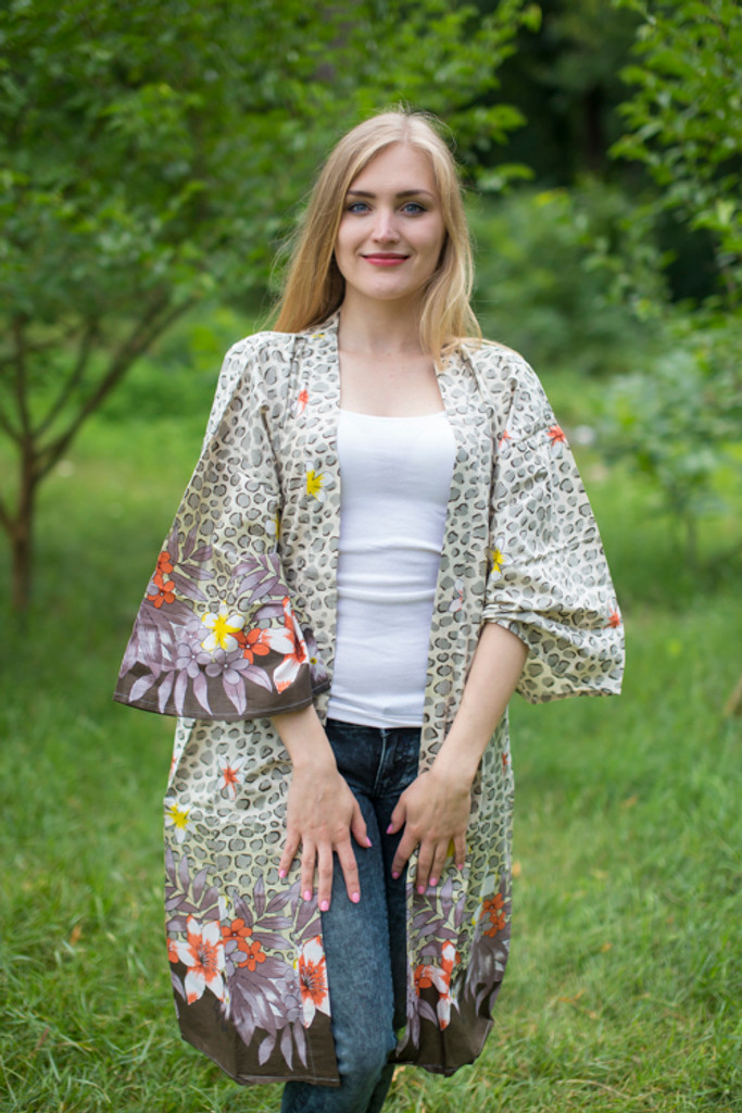 """Free Bird"" Kimono jacket in Fun Leopard pattern"