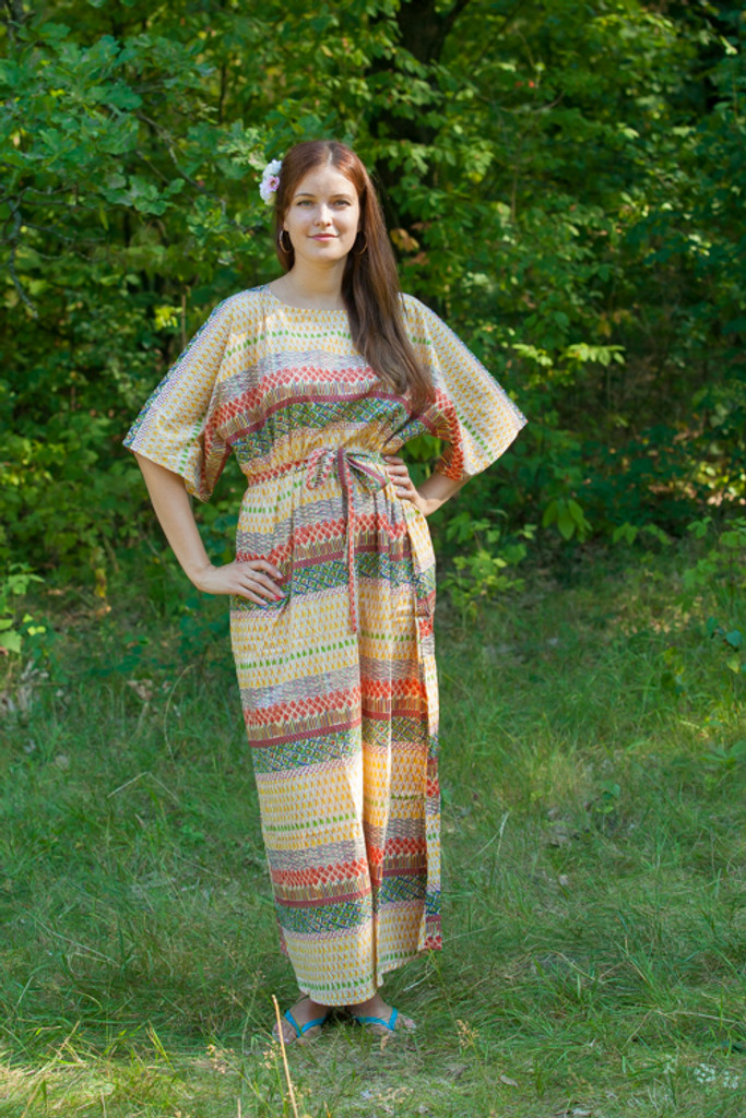 """Mademoiselle"" kaftan in Abstract Geometric pattern"
