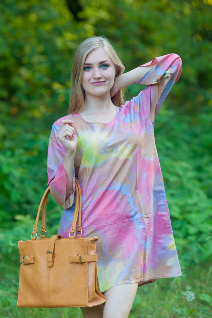 """Sun and Sand"" Beach Tunic in Batik  Watercolor pattern"