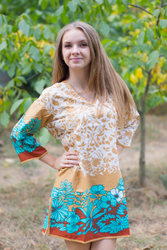 """Sun and Sand"" Beach Tunic in Falling Leaves pattern"