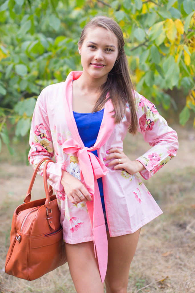 """""""Bow and Me"""" Kimono jacket in Cabbage Roses pattern"""