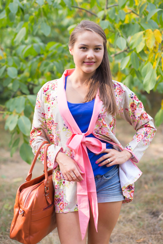 """""""Bow and Me"""" Kimono jacket in Floral Posy pattern"""