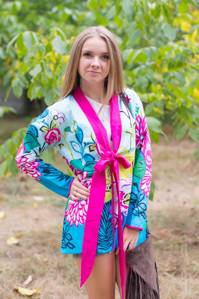 """Bow and Me"" Kimono jacket in Jungle of Flowers pattern"