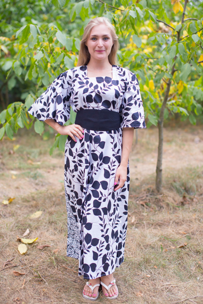 """Beauty, Belt and Beyond"" kaftan in Classic White Black pattern"