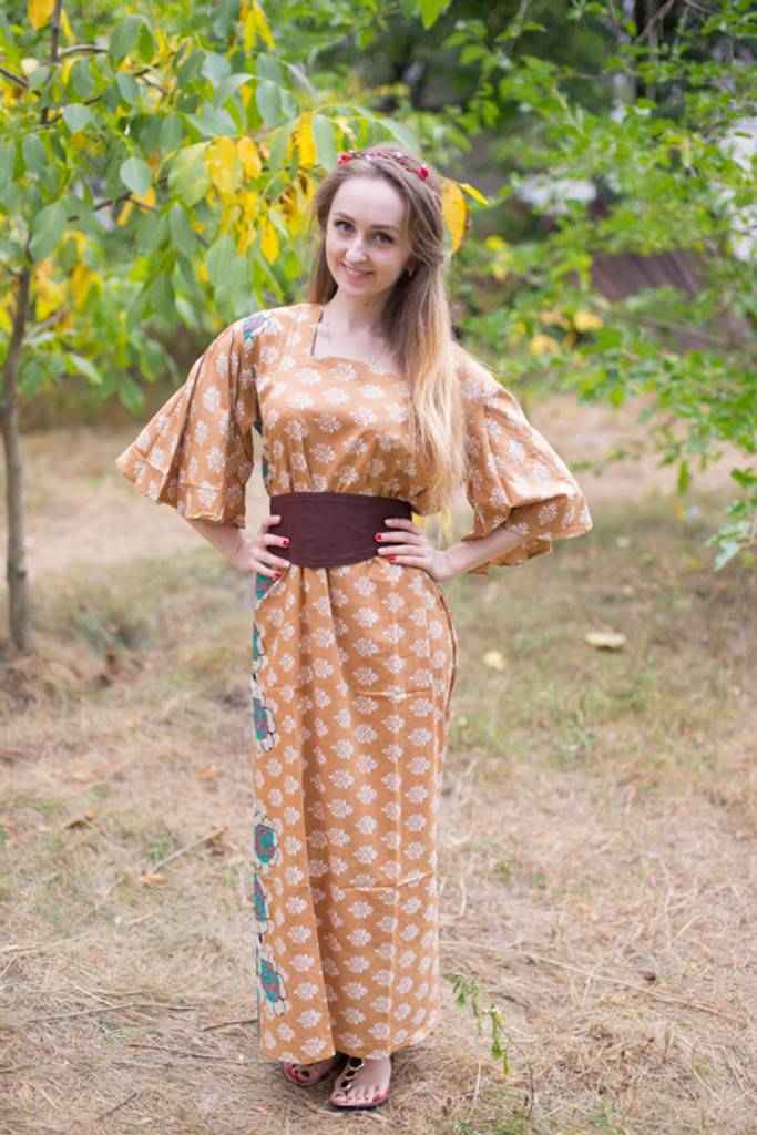 """""""Beauty, Belt and Beyond"""" kaftan in Floral Bordered pattern"""