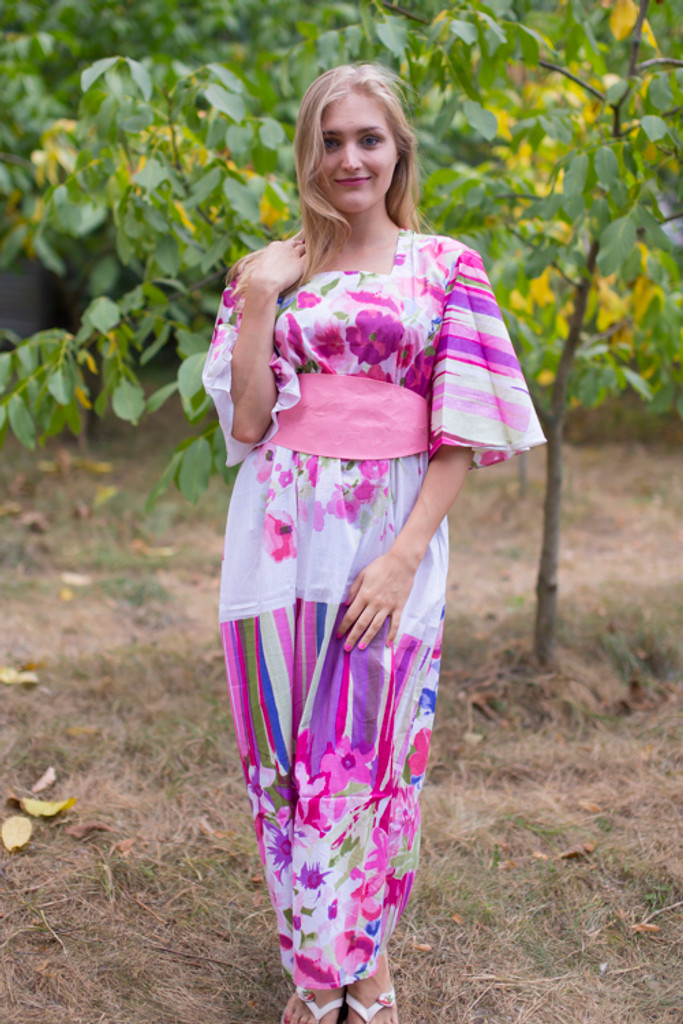 """""""Beauty, Belt and Beyond"""" kaftan in Floral Watercolor Painting pattern"""