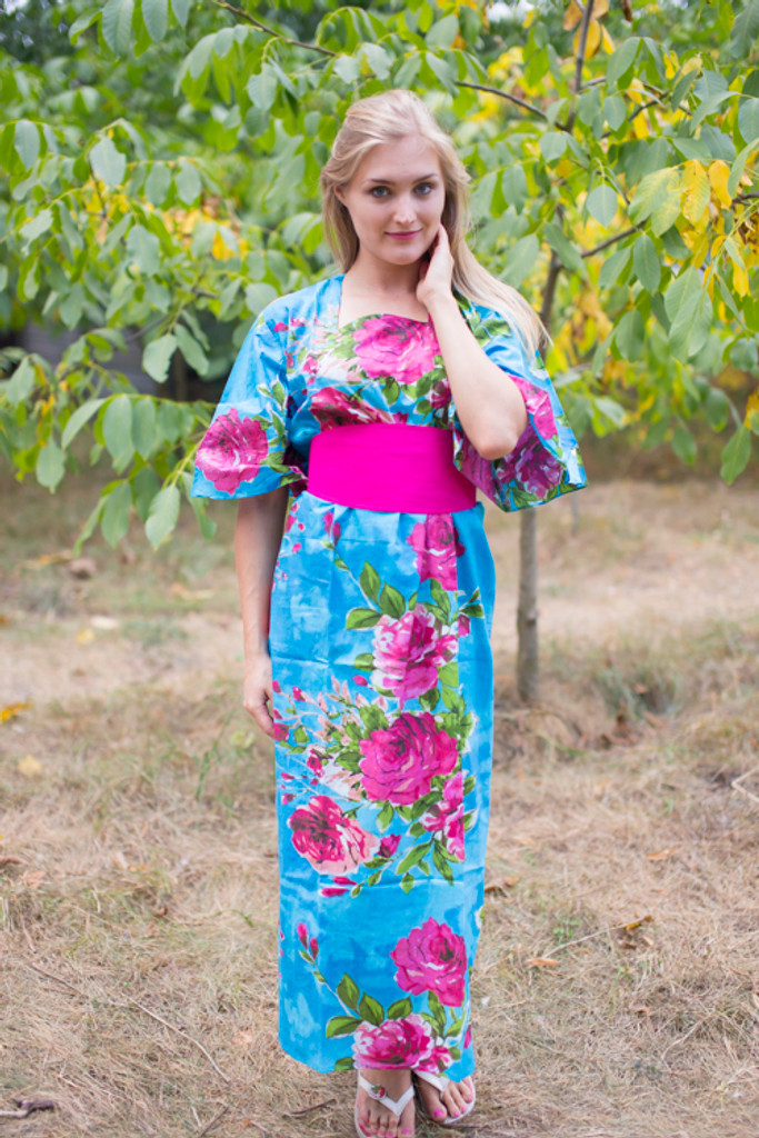 """""""Beauty, Belt and Beyond"""" kaftan in Large Fuchsia Floral Blossom pattern"""