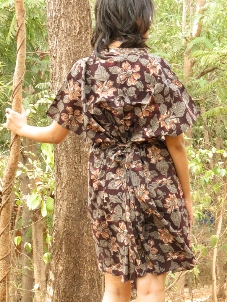 """Organic Au Naturelle"" Button-Front kaftan in Brown Floral pattern"