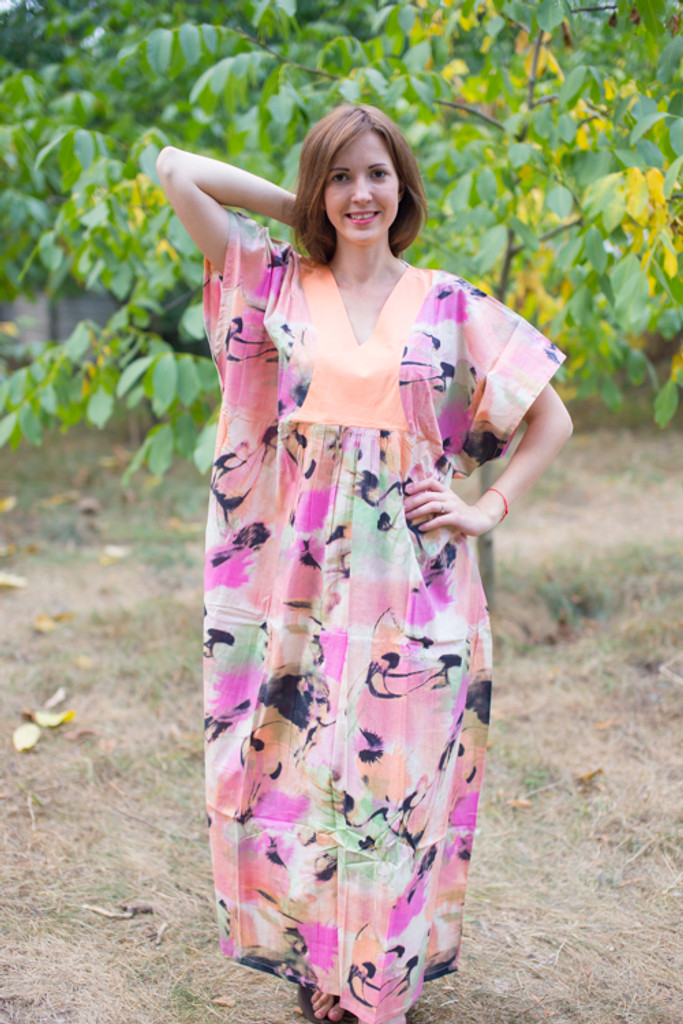 """Flowing River"" kaftan in Flamingo Watercolor pattern"