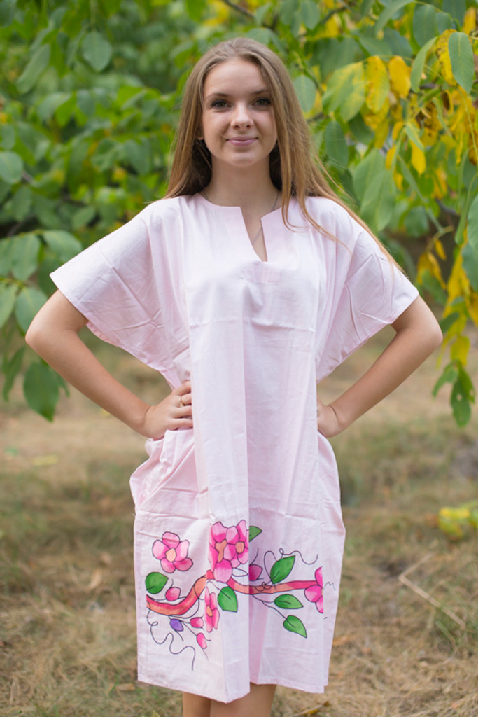 """Sunshine"" Tunic Dress kaftan in Swirly Floral Vine pattern"