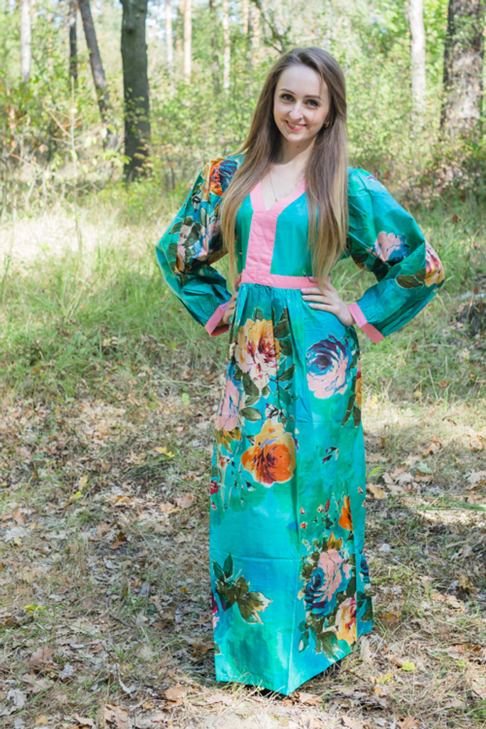 """""""My Peasant Dress"""" kaftan in Large Floral Blossom pattern"""