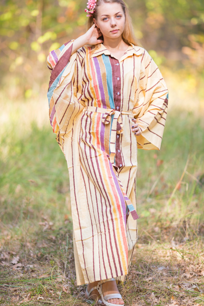 """Oriental Delight"" kaftan in Multicolored Stripes pattern"
