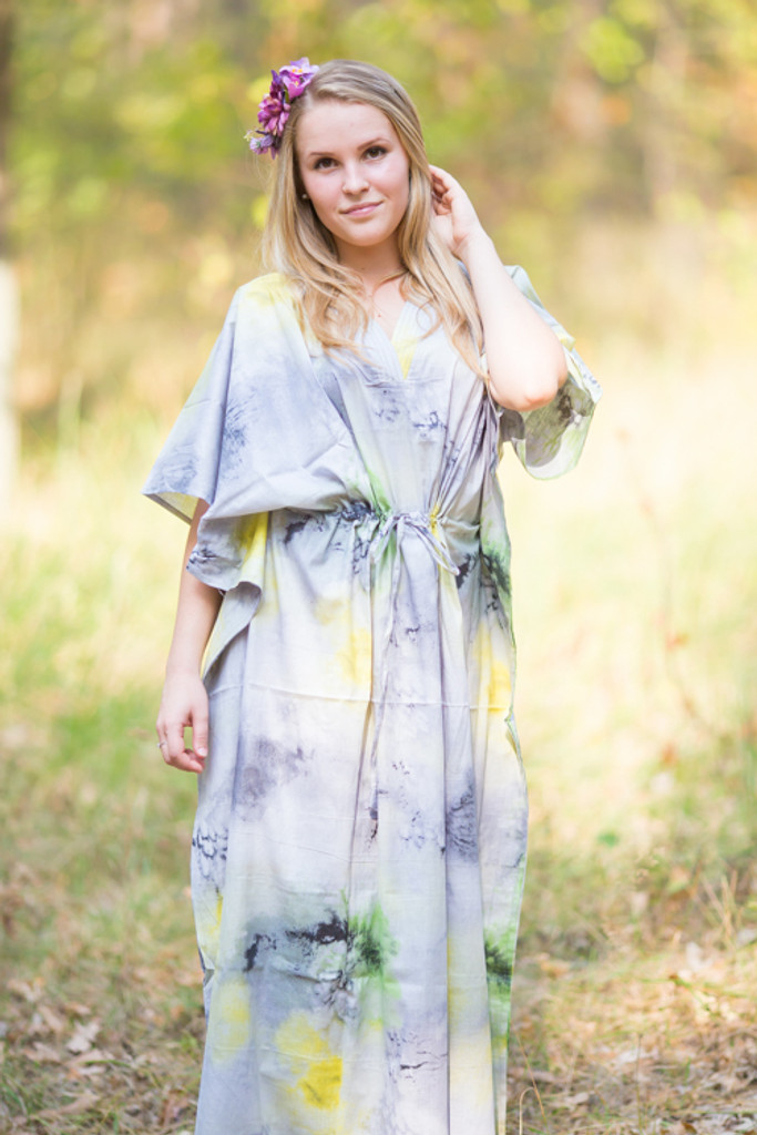 """The Drop-Waist"" kaftan in Watercolor Splash pattern"