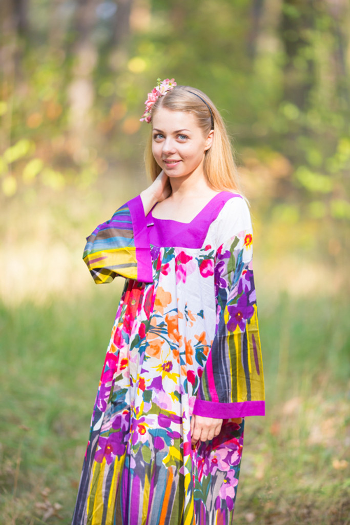 """""""Fire Maiden"""" kaftan in Floral Watercolor Painting pattern"""