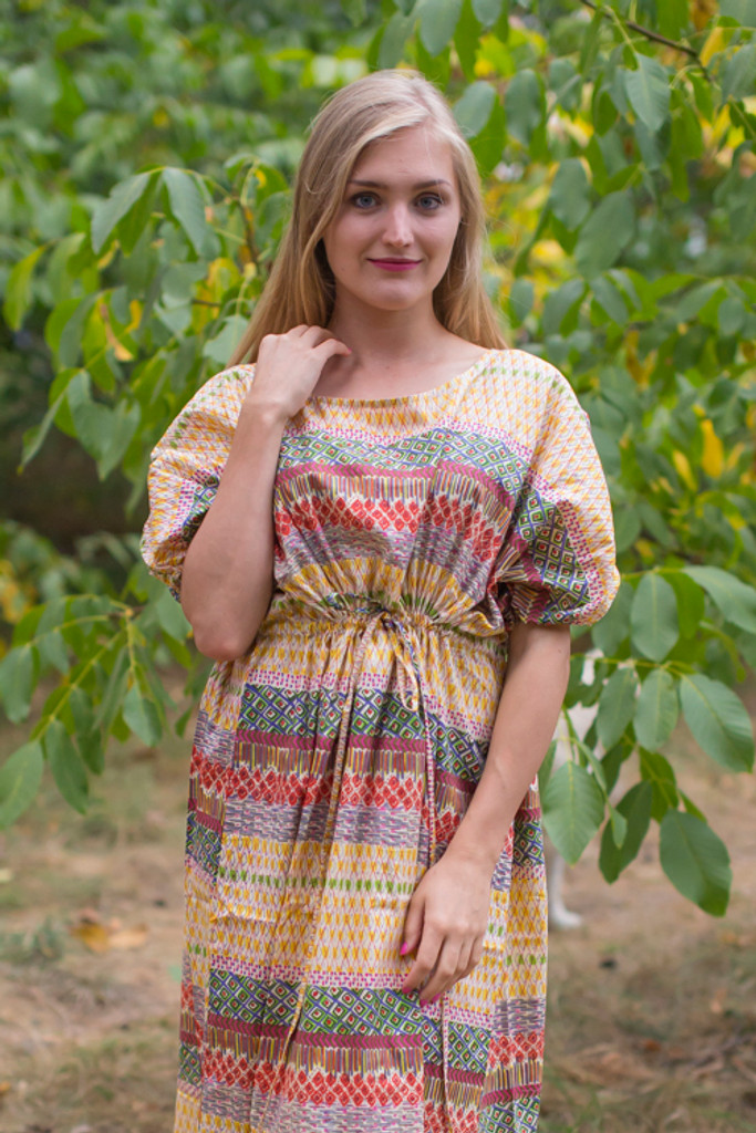 """Cut-out Cute"" kaftan in Abstract Geometric pattern"