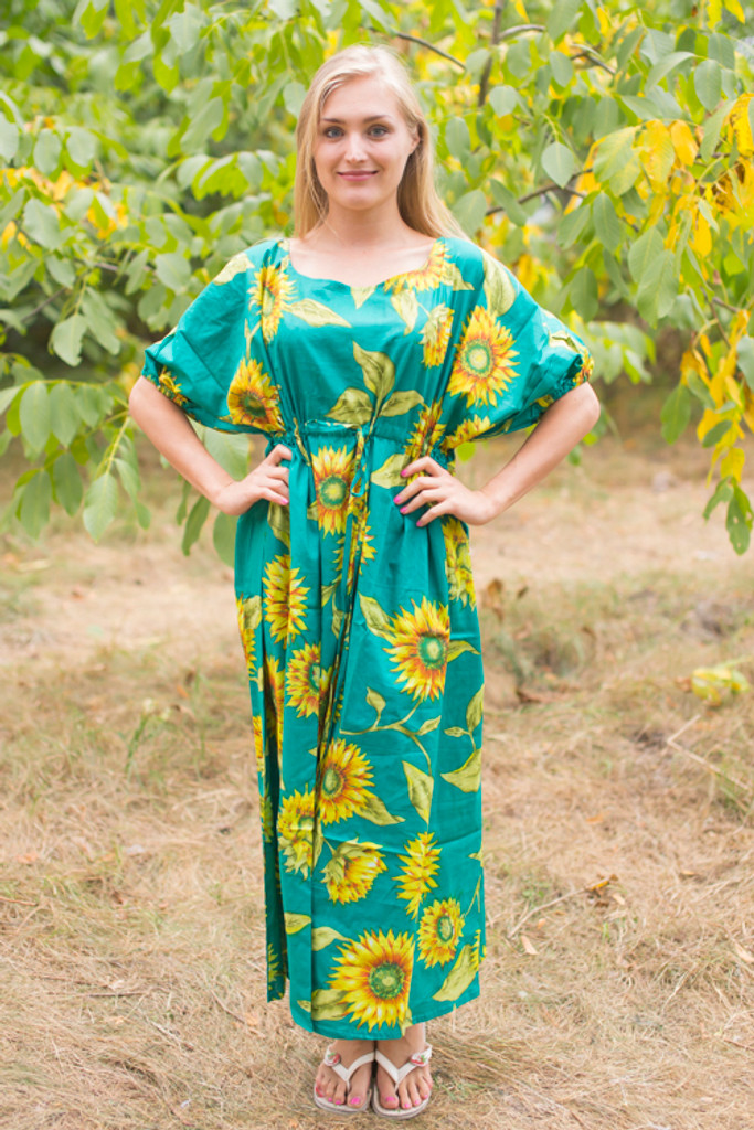 """Cut-out Cute"" kaftan in Sunflower Sweet pattern"