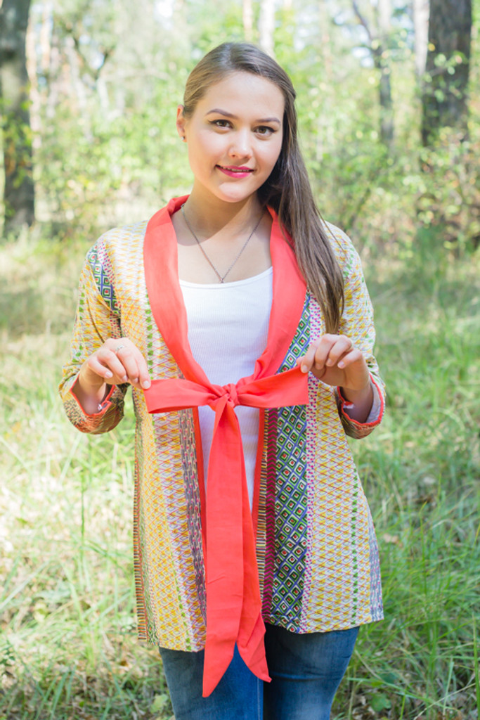 """""""Bow and Me"""" Kimono jacket in Abstract Geometric pattern"""