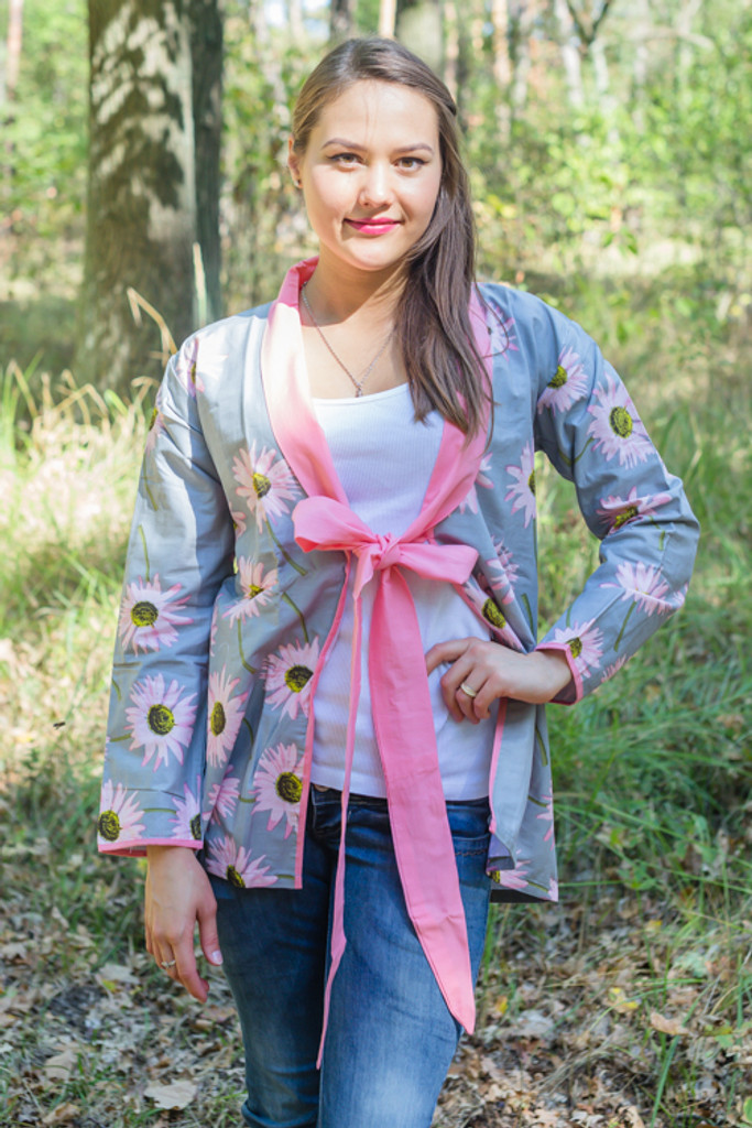 """Bow and Me"" Kimono jacket in Falling Daisies pattern"