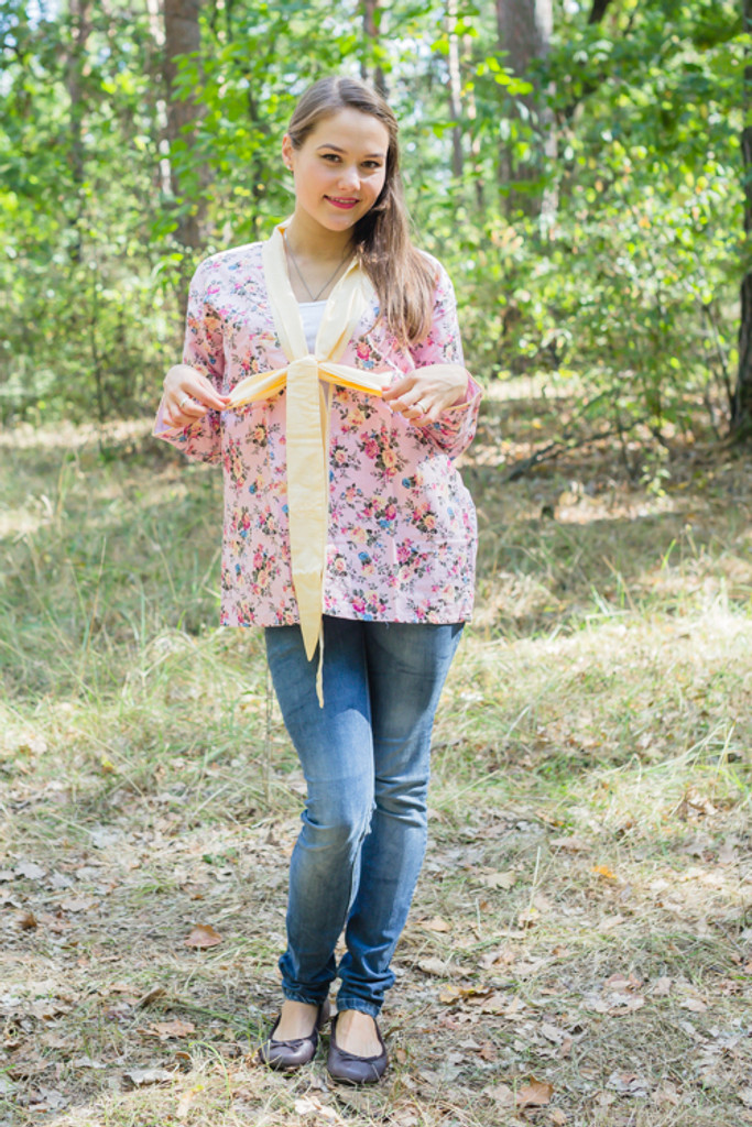"""""""Bow and Me"""" Kimono jacket in Vintage Chic Floral pattern"""