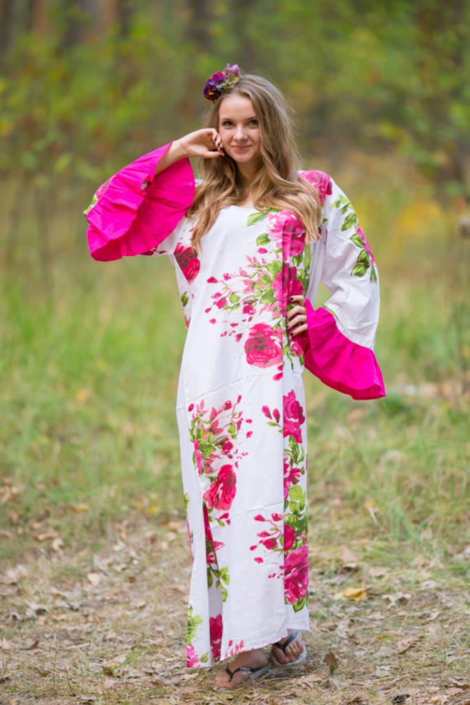 """Frill lovers"" kaftan in Large Fuchsia Floral Blossom pattern"