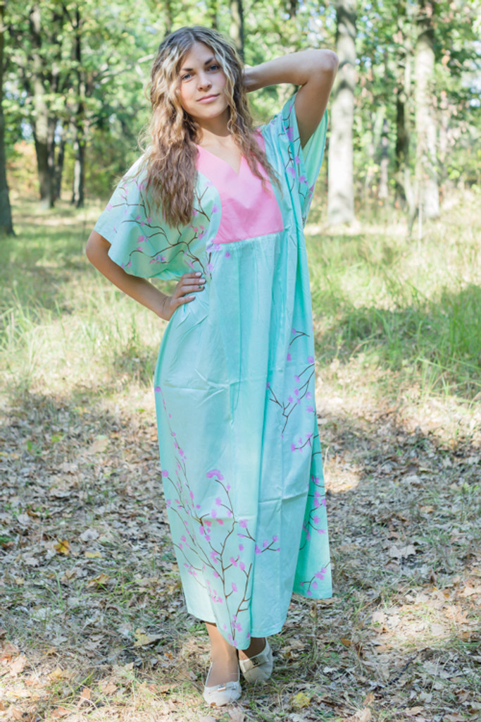 """""""Flowing River"""" kaftan in Cherry Blossoms pattern"""