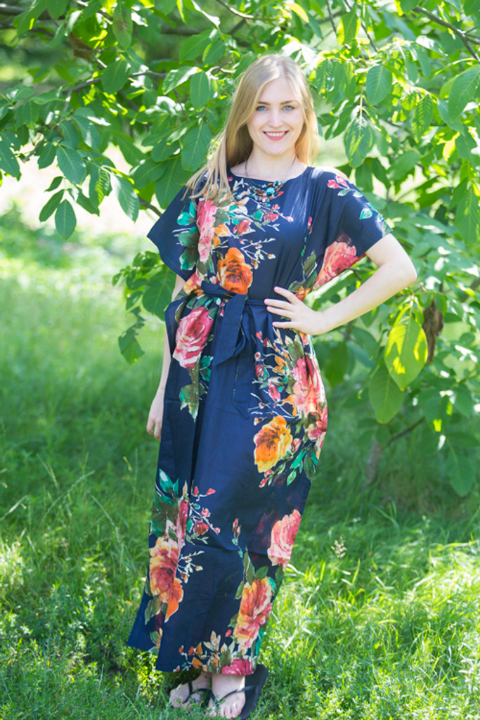 """""""Divinely Simple"""" kaftan in Large Floral Blossom pattern"""