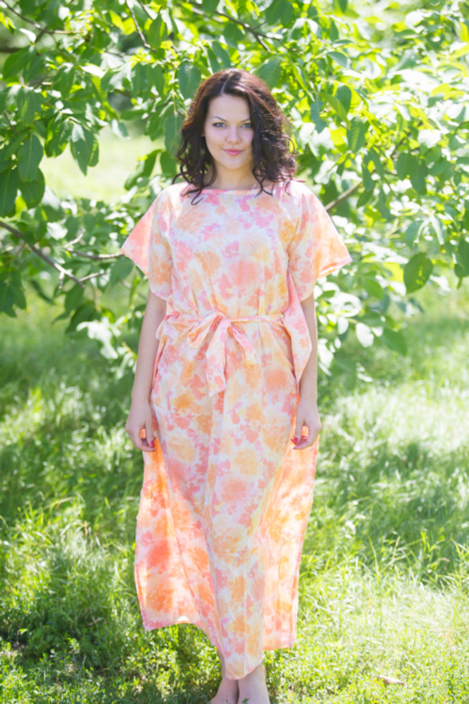 """""""Divinely Simple"""" kaftan in Ombre Fading Leaves pattern"""