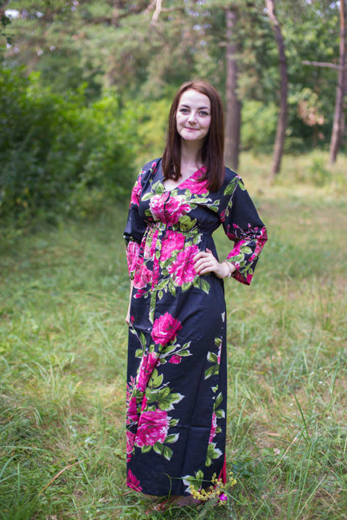 """Button me down"" kaftan in Large Fuchsia Floral Blossom pattern"