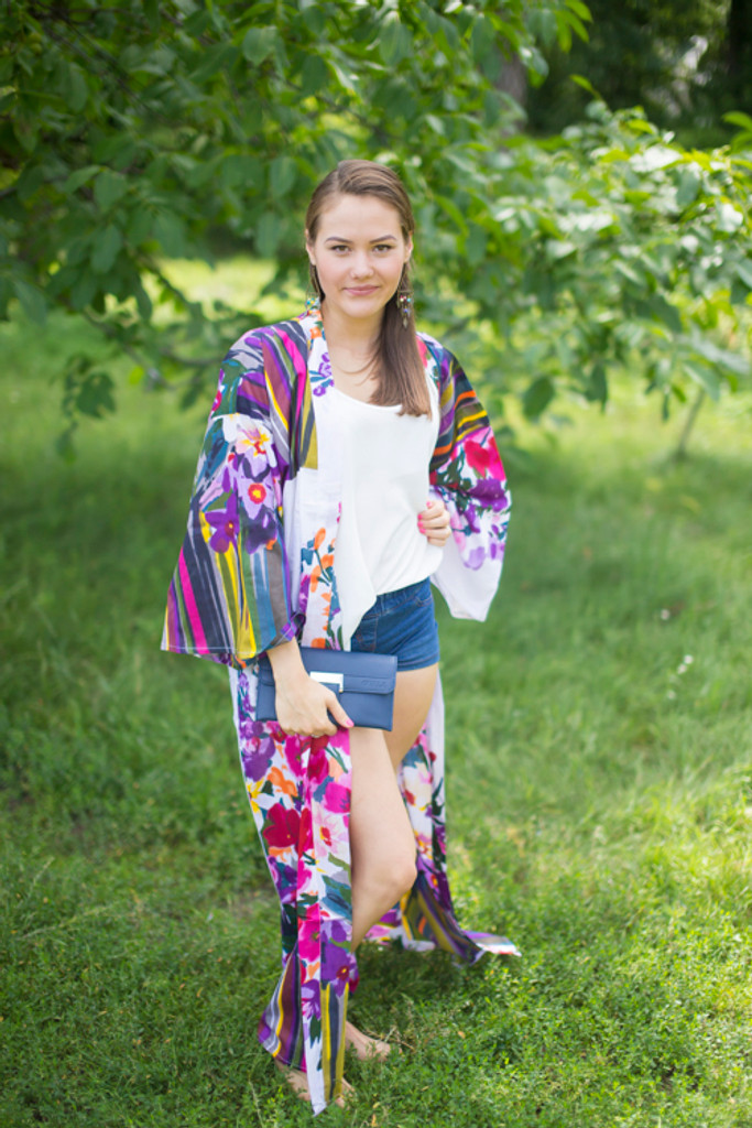 """""""Boho-Chic"""" Kimono jacket in Floral Watercolor Painting pattern"""