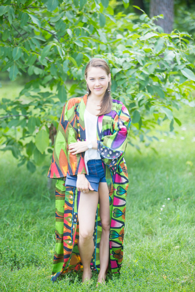 """Boho-Chic"" Kimono jacket in Glowing Flame pattern"