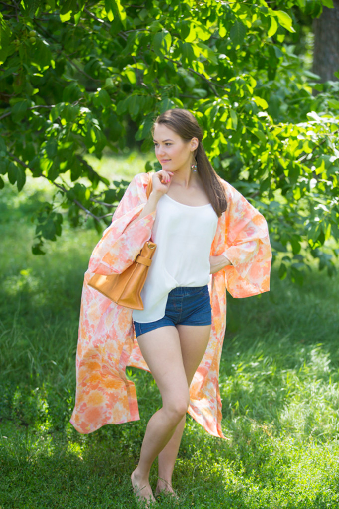 """""""Boho-Chic"""" Kimono jacket in Ombre Fading Leaves pattern"""
