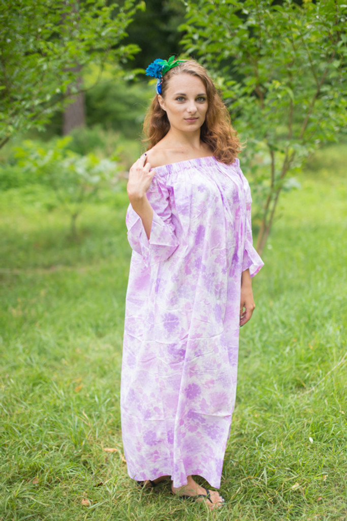 """""""Serene Strapless"""" kaftan in Floral Ombre Fading Leaves pattern"""