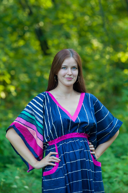 """Breezy Bohemian"" kaftan in Multicolored Stripes pattern"