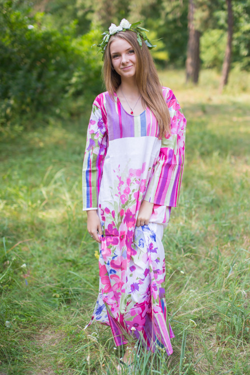 """The Unwind"" kaftan in Floral Watercolor Painting pattern"