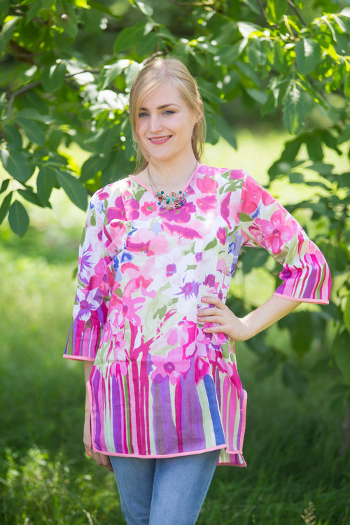 """Glam Tunics"" kaftan Top in Floral Watercolor Painting pattern"