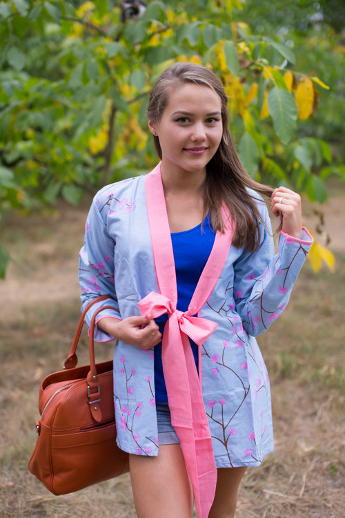 """""""Bow and Me"""" Kimono jacket in Cherry Blossoms pattern"""