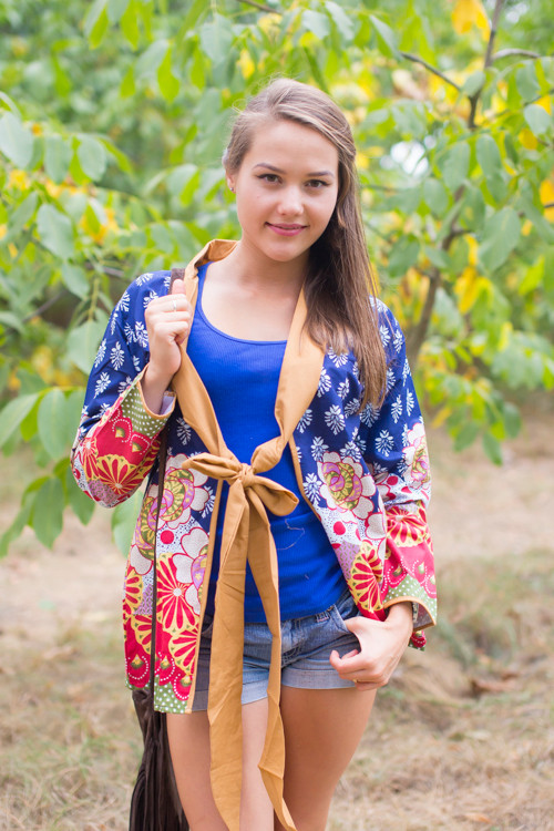 """Bow and Me"" Kimono jacket in Floral Bordered pattern"