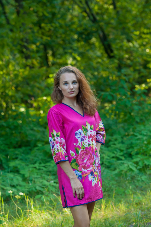 """Sun and Sand"" Beach Tunic in One Long Flower pattern"